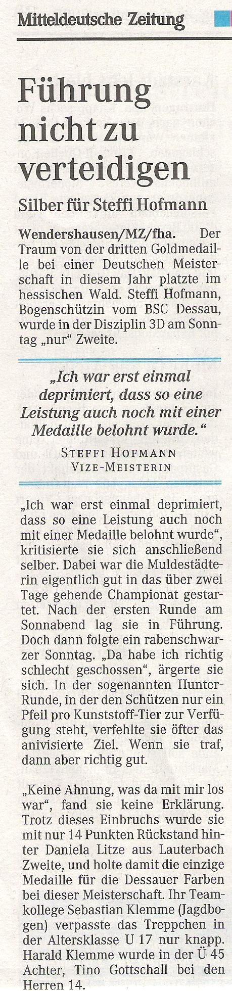 DM 3D in Wendershausen – Mitteldeutsche Zeitung vom 27.09.2005