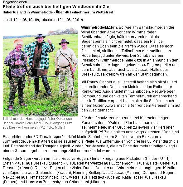 Hubertusjagd in Wimmelrode – Mitteldeutsche Zeitung Online-Ausgabe vom 12.11.2006