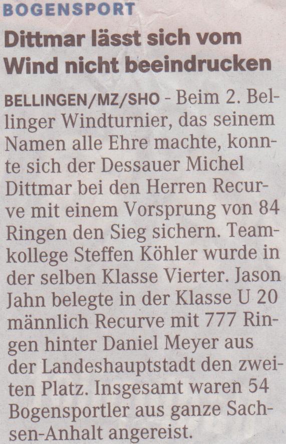 Bellinger Windturnier – Mitteldeutsche Zeitung vom 02.06.2009