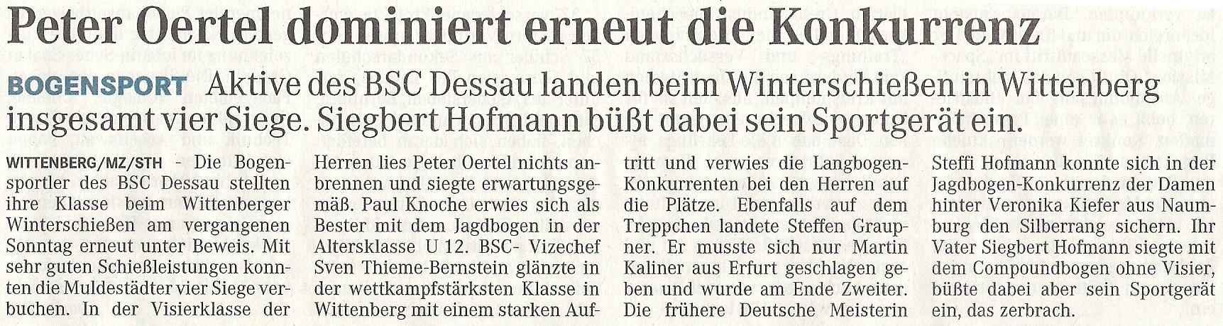 Winterschiessen in Wittenberg – Mitteldeutsche Zeitung vom 11.03.2009