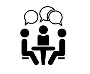 Piktogramm von drei Personen mit Sprechblasen an einem Tisch sitzend
